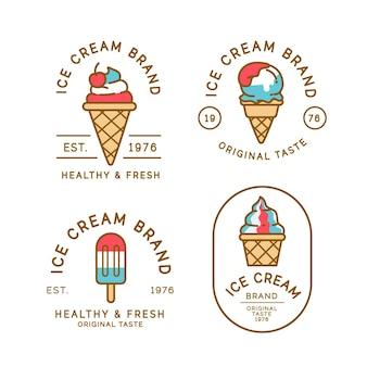 Коллекция линейных плоских этикеток для мороженого