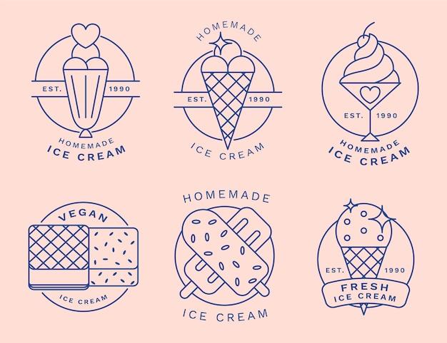 リニアフラットアイスクリームラベルコレクション