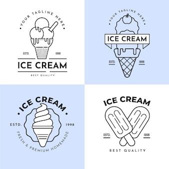 선형 평면 아이스크림 라벨 컬렉션