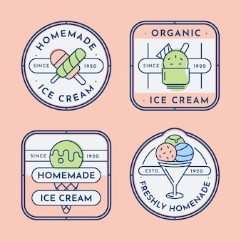 Linear flat ice cream label collection