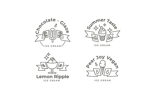 線形フラット アイス クリーム ラベル コレクション