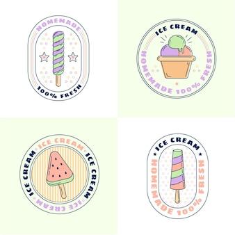 Collezione di etichette piatte lineari per gelato