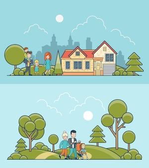 自然の上を歩く家族と一緒に設定された線形フラットイラスト