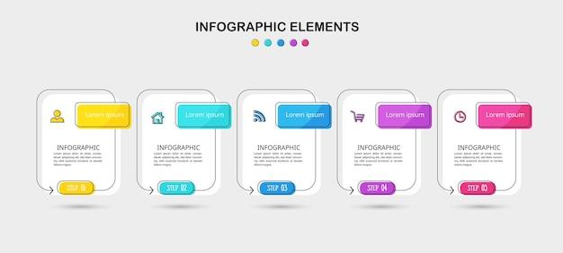 Линейный плоский инфографический шаблон