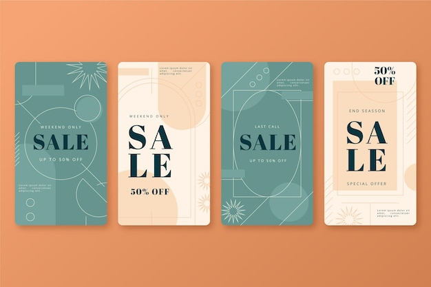 Linear flat instagram sale stories collection