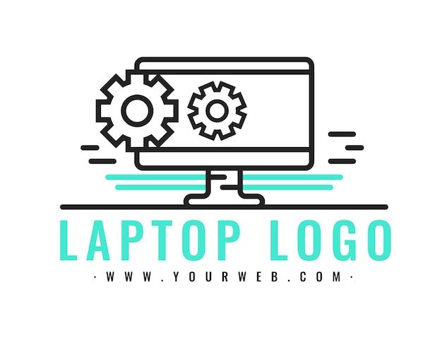 선형 평면 노트북 로고 템플릿