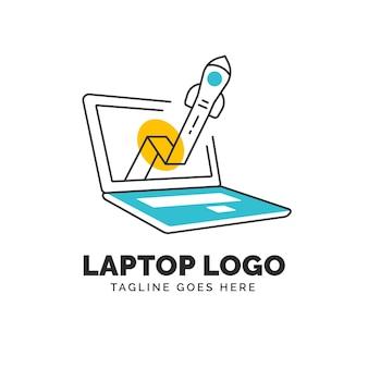 Шаблон логотипа линейного плоского ноутбука