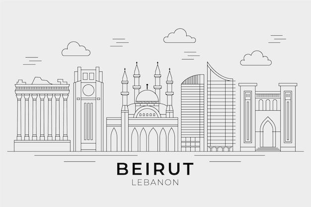 Orizzonte del libano piatto lineare