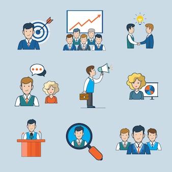 선형 평면 라인 아트 스타일 비즈니스 사람들이 개념을 설정합니다. 타겟팅 보고서 아이디어 파트너십 채팅 토론 발표 발표자 컨퍼런스 검색 팀을 홍보합니다.