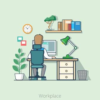 선형 평면 라인 아트 스타일 비즈니스 직장 사무실 인테리어 책상 개념. 사업가 후면 다시보기 테이블 컴퓨터 램프 책장 공장.