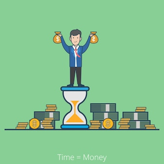 Linear flat line art style time is money business concept. businessman on hourglass holding moneybags stacks of dollar coin notes.
