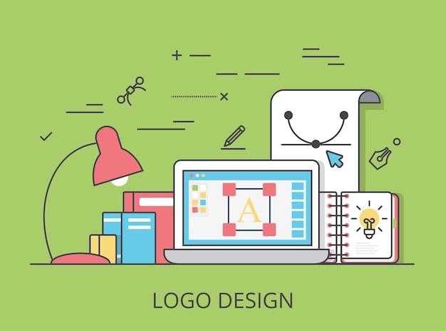 リニアフラットのロゴデザイン、アイデンティティ、ブランディングのウェブサイトのヒーロー画像のイラスト。デジタルアートツールとテクノロジーのコンセプト。ラップトップ、スケッチブック、ベクターエディターソフトウェアインターフェイス。