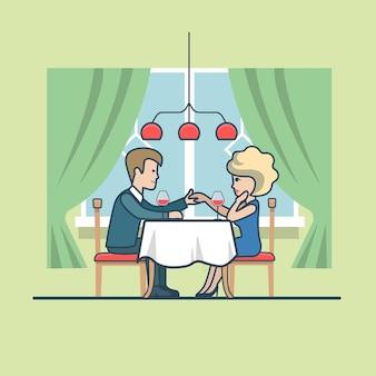 Линейный плоский мужчина делает предложение своей даме в ресторане на праздновании годовщины. счастливая семейная жизнь, концепция романтического свидания.