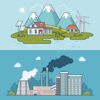 Linear flat modern eco friendly town compared to heavy industry polluted plant  illustration. ecology and nature pollution concept.