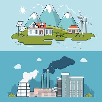 重工業の汚染された植物のイラストと比較したリニアフラットモダンな環境に優しい町。生態学と自然汚染の概念。