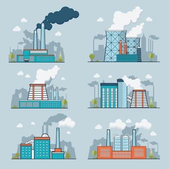 線形フラット現代重工業自然汚染プラントイラストセット。生態学と自然汚染の概念。