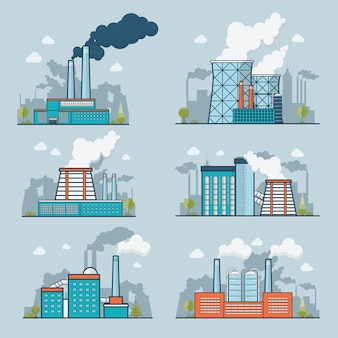 Linear flat modern heavy industry nature pollution plant  illustration set. ecology and nature polluted concept.