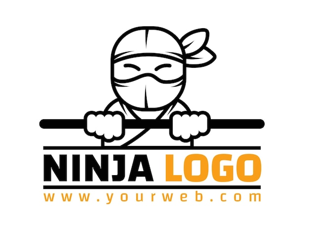Linear flat ninja logo template
