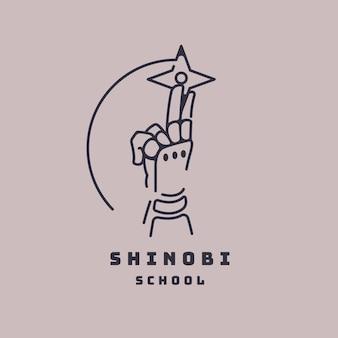 Линейный плоский шаблон логотипа ниндзя