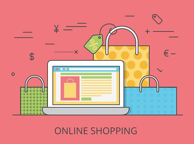 リニアフラットオンラインショッピングサイトのヒーロー画像イラスト。 eコマースビジネス、販売、消費主義の概念。画面にカートインターフェイス、背景にバッグを備えたノートパソコン。