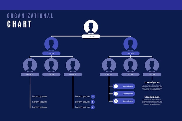 Linear flat organizational chart infographic with photo