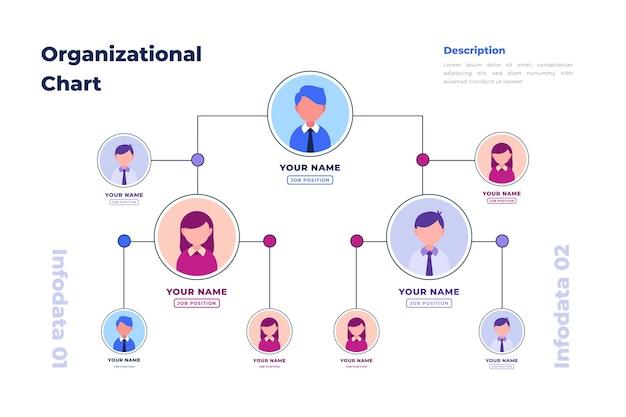 Линейная плоская организационная диаграмма инфографики