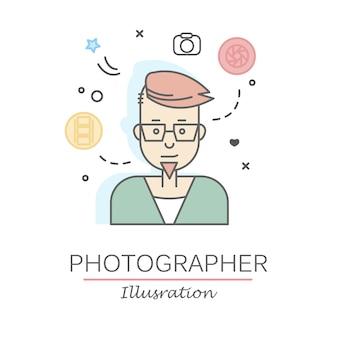 선형 평면 사람들 얼굴 및 직업 그림.