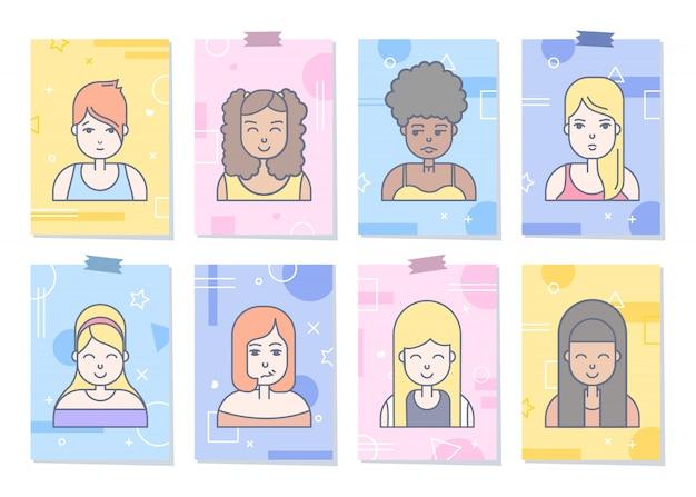 선형 평면 사람들 아이콘 세트에 직면 해있다. 소셜 미디어 아바타, userpic 및 프로필.