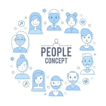 선형 평면 사람들이 그림에 직면 해있다. 소셜 미디어 아바타, userpic 및 프로필.
