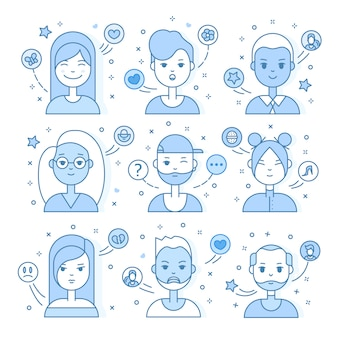 Linear flat people faces illustration. social media avatar, userpic and profiles.