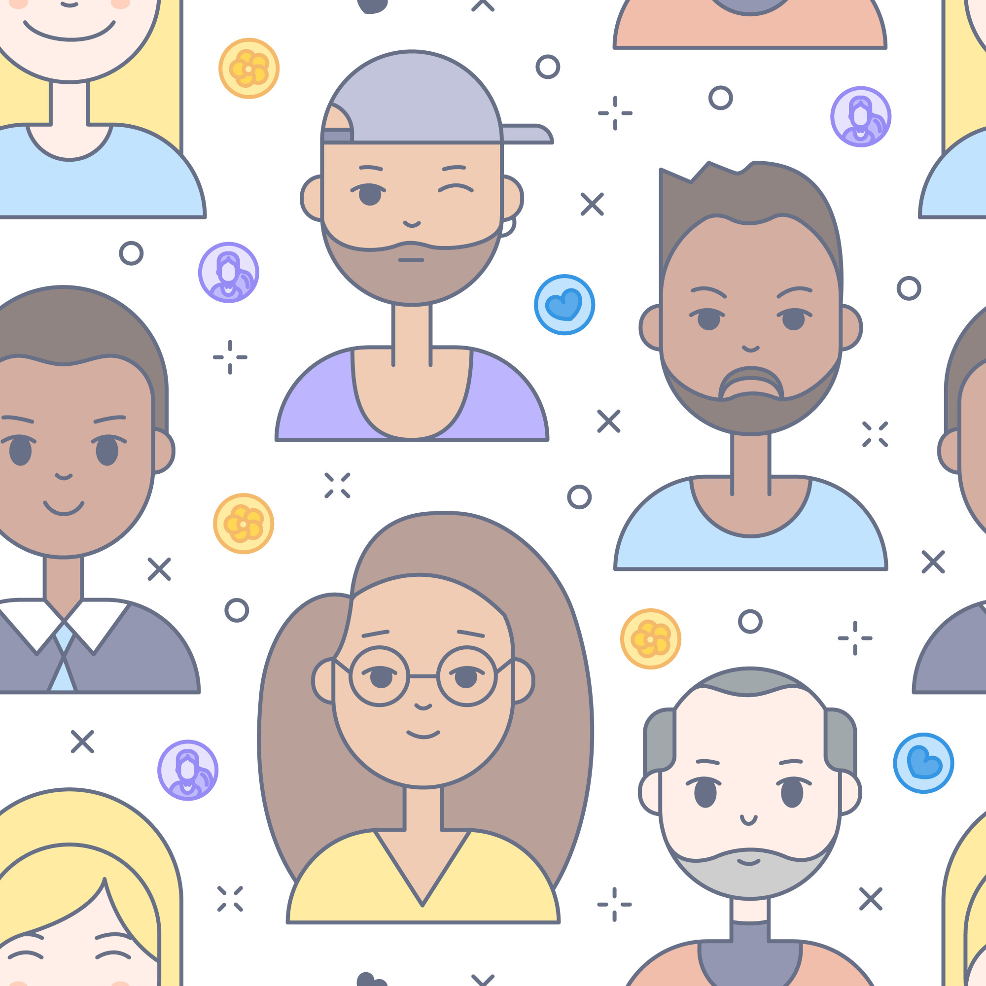 Linear Flat people faces seamless pattern. Social media avatar, userpic and profiles.