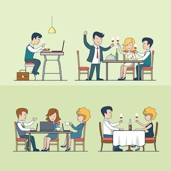 レストランイラストセットの線形フラットの人々。食べ物や飲み物のコンセプト。夕食、お祝い、夕食、昼食、ビジネスマン、ビジネスウーマン。