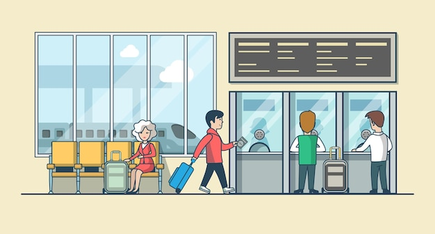 Линейные плоские люди на иллюстрации зала ожидания железнодорожного вокзала и кассы кассира. концепция общественного транспорта.