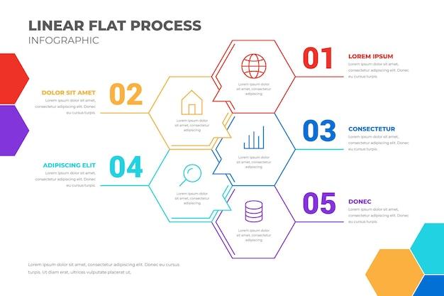 線形フラットプロセスインフォグラフィックテンプレート