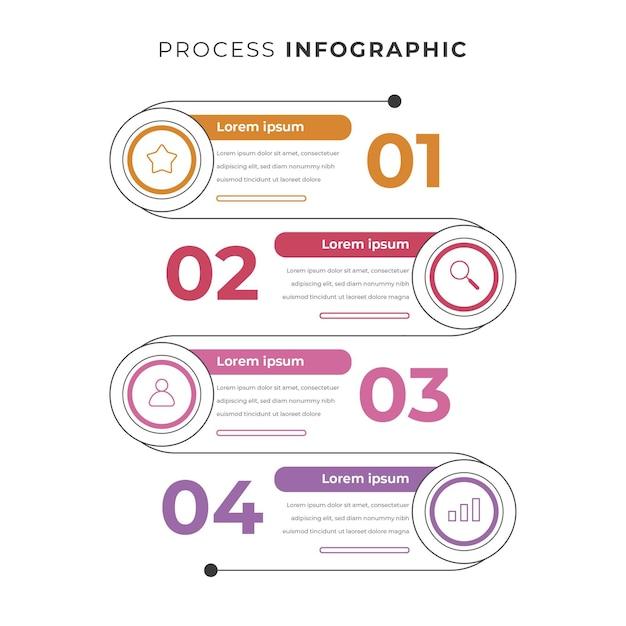 선형 평면 프로세스 infographic 템플릿