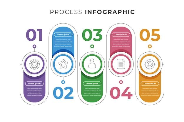 Modello di infografica processo piatto lineare
