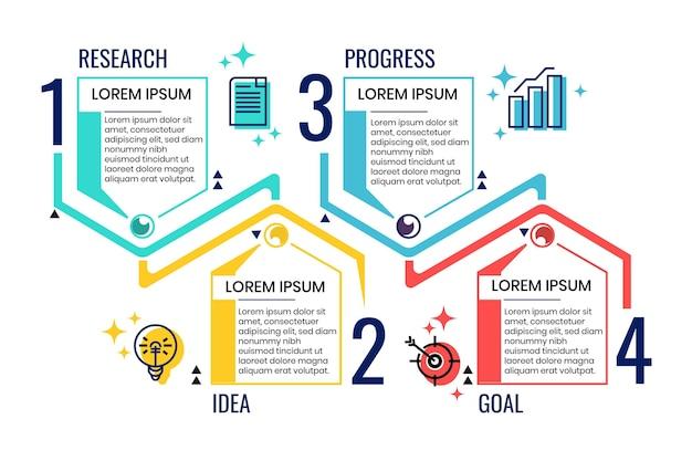 Шаблон инфографики линейного плоского процесса