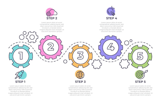 Infografica di processo piatto lineare