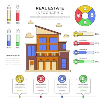 Linear flat real estate infographic template