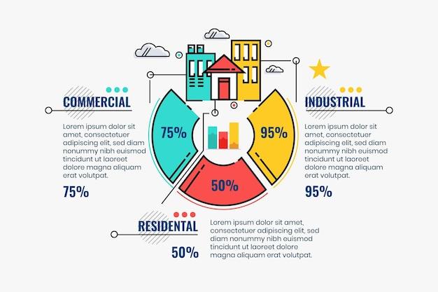선형 평면 부동산 infographic 템플릿