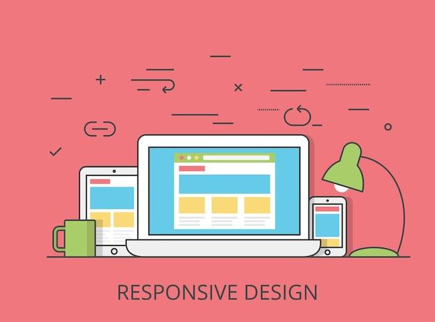 リニアフラットレスポンシブウェブデザインレイアウトウェブサイトヒーロー画像イラスト。アプリのプログラミング技術とソフトウェアの概念。タブレット、ラップトップ、ワイヤーフレーム付きスマートフォン。