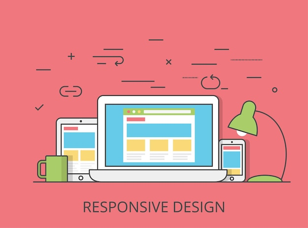 Linear flat responsive web design layout website hero image  illustration. app programming technology and software concept. tablet, laptop, smartphone with wireframe.