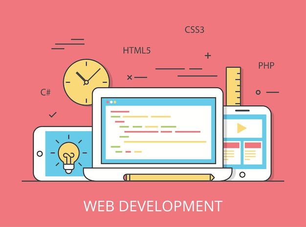 Linear flat responsive web development layout website hero image  illustration. app programming technology and software concept. c#, php, html5, css3 technologies, laptop, tablet and smartphone.