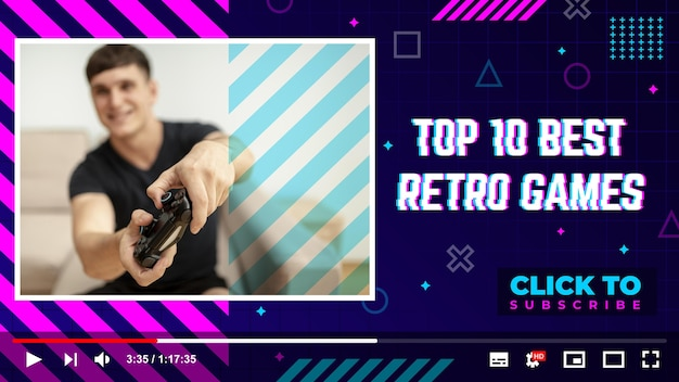 Linear flat retro gamer youtube thumbnail template