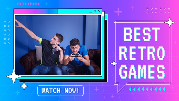 Linear flat retro gamer youtube thumbnail