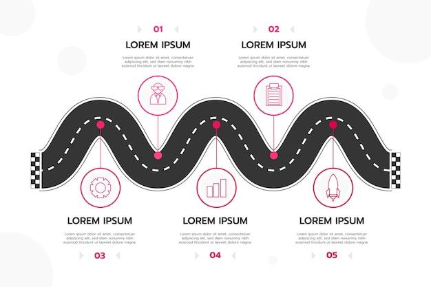 Линейный плоский инфографический шаблон дорожной карты