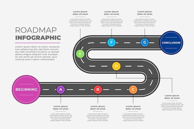 線形フラットロードマップインフォグラフィックテンプレート