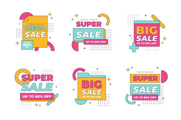 Collezione di distintivi di vendita piatta lineare
