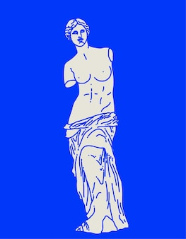 Linear flat sketch of antique statue of venus de milo in white color isolated on blue background