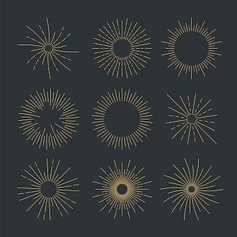 Коллекция линейных плоских солнечных лучей